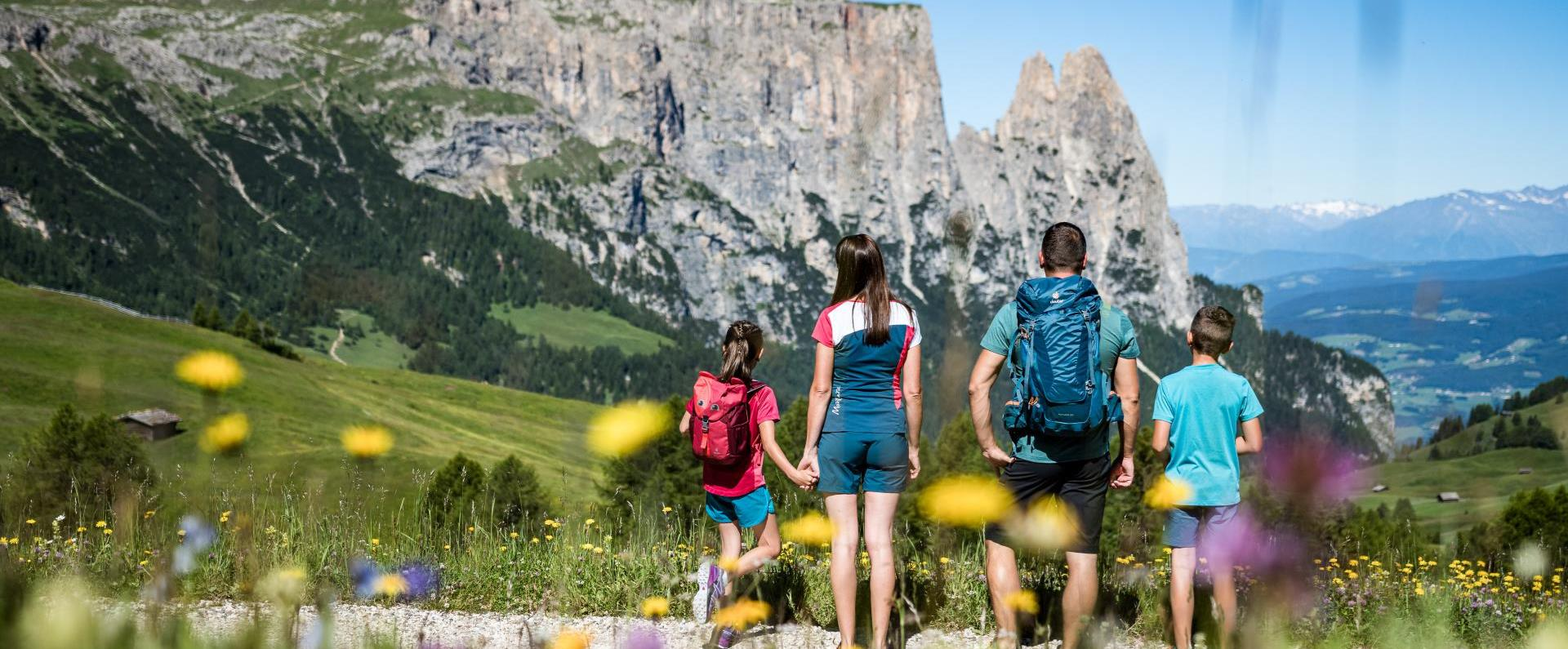 Adventure hiking and exploring with children on the Seiser Alm