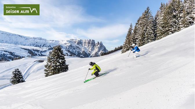 Skiing on the Seiser Alm in South Tyrol