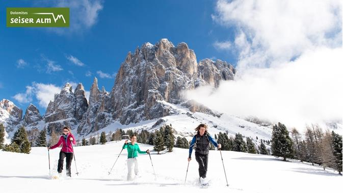 Snowshoe hiking in the Dolomites