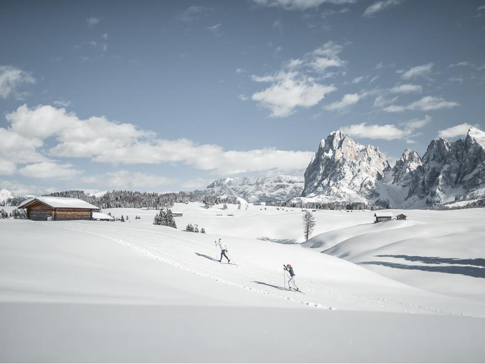 Winter cross-country skiing on the Seiser Alm with the Langkofel and Plattkofel in the background